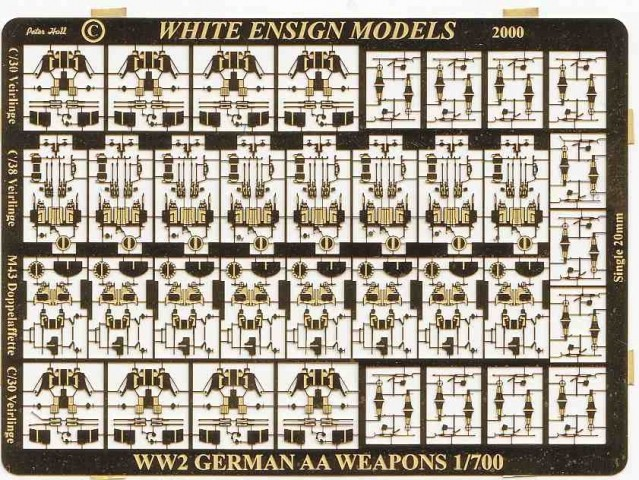 WEM 1/700 WWII German Light AA Weapons (PE 733) | White Ensign Models